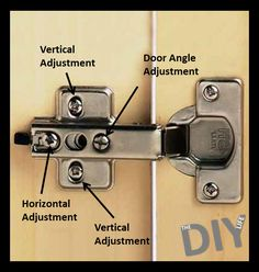 Woodworking Tips Helpful Hints Straighten and align your cabinet doors with this adjustment guide.Woodworking Tips Helpful Hints Straighten and align your cabinet doors with this adjustment guide. Do It Yourself Furniture, Diy Furniture, Outdoor Furniture, Furniture Online, Vintage Furniture, Home Renovation, Home Remodeling, Hinges For Cabinets, Cupboard Hinges