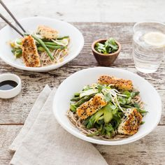 Sesame Crusted Tofu with Soba Noodles and Teriyaki Asian Greens Sauce Teriyaki, Healthy Cook Books, Weekly Meals, Soba Noodles, Vegetarian Meals, Meals For The Week, Tofu, Vegan Recipes, Sweet Treats