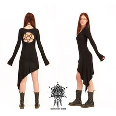 Pentagram dress. Goth dress. Gothic dress, sacred geometry dress,... ($60) ❤ liked on Polyvore featuring dresses, goth dresses, white gothic dress, goth punk dress, white dress and punk dress