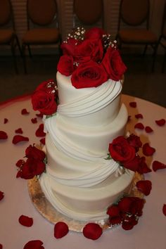 Order you cake and use artificial flowers and rose petal(dollar store)