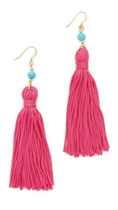 Bright fabric tassels create a cheerful look on these Kenneth Jay Lane earrings. French hook.