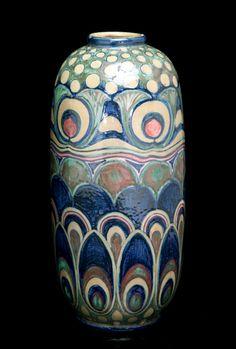 Art Nouveau Liberty Peacock Feather Vase stoneware Excellent condition Italian circa 1903