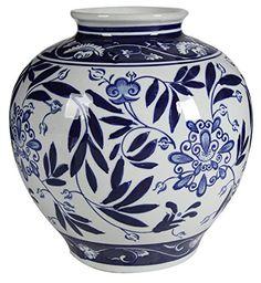 """A&B Home AV69767 Blue and White Porcelain Vase, 8.5"""" x 8...."""