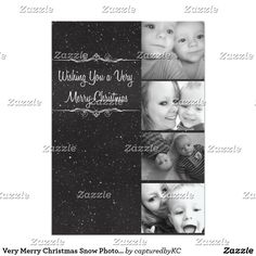 Very Merry Christmas Snow Photo Card