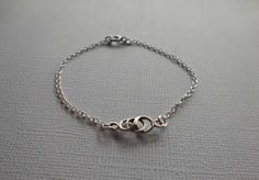 Sterling Silver Bracelet with Woven Circle Link