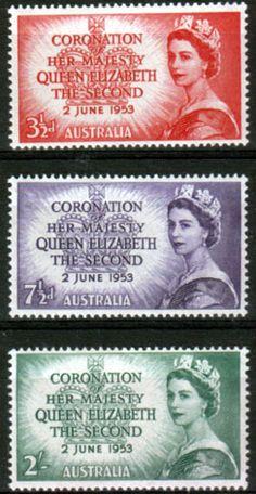 Australia Queen Elizabeth II 1953 Coronation Set Fine Mint SG 264 6 Scott 259 61 Other Australian Stamps HERE
