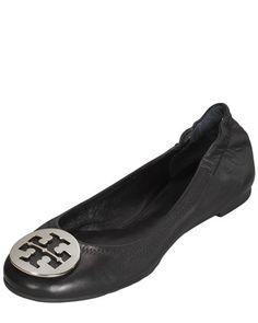 Reva Logo Ballerina Flat, Black by Tory Burch at Bergdorf Goodman.