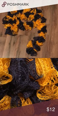 Crocheted Ruffle Scarf New Crocheted Ruffle Scarf  Handmade  Blue and yellow Accessories Scarves & Wraps