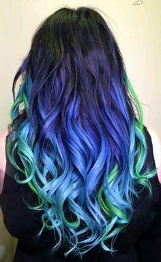 Blue Green dyed hair @nealmhair
