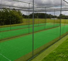 Professional club quality steel fixed in ground multi lane cricket batting cage nets. A professional grade cricket net cage system which sits into the ground to create a permanent batting area. Can be double or triple. More lane options by request. 3.6m tall x 3.6m wide by several popular length options available in double or triple bays. Canvas screening is available by request.