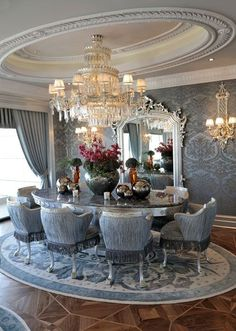 Blue and white glam dining room