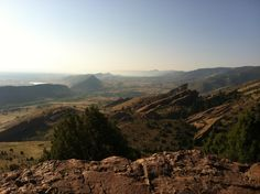 The top of Morrison trail overlooking Red Rocks Colorado after an early morning run.