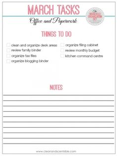 How to organize the office and paperwork checklist. // cleanandscentsible.com