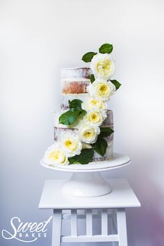 Naked Cake with David Austen Roses by Alisha Henderson @ Sweet Bakes  www.facebook.com/sweetbakess