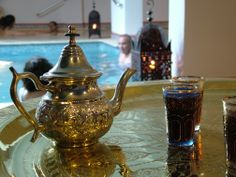 Relaxing tea in a Hammam in our hotel, Cordoba, Andalucia