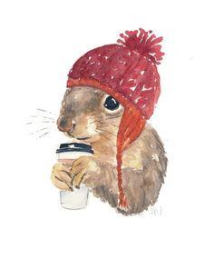 Coffee Squirrel Watercolor PRINT - Squirrel Print, Squirrel with Coffee, Knit Hat, Cute Squirrel Watercolor Animals, Watercolor Print, Watercolor Paintings, Original Paintings, Watercolours, Squirrel Art, Cute Squirrel, Squirrels, Baby Animals