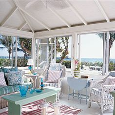 What a great Florida room, lots of room to add to our lake house! Plus extra sleeping! Cottage Living, Coastal Cottage, Coastal Homes, Coastal Living, Cottage Style, Coastal Style, Cottage Porch, House Porch, Beach Homes