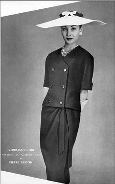 "1955 - Renée Breton in Christian Dior's ""almanach"" navy blue wool suit, photo by Georges Saad"