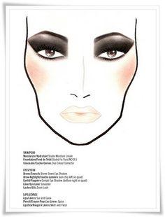 Mac makeup chart - smokey eyes + nude lip