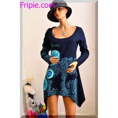 robe tunique asymetrique desigual bleu taille 38-40 M T2 ref 121623 #fripie #desigual