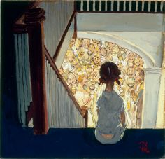 Little Girl Looking Downstairs at Christmas Party, Norman Rockwell. (1894-1978)  |  midcenturyblog.tumblr.com