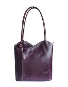 Multi-Way Purple Leather Shoulder Bag/Backpack - £49.99