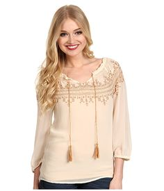 Lucky Brand Countyline Embroidered Peasant Top