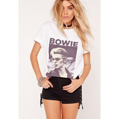 Missguided Bowie Photographic T Shirt ($24) ❤ liked on Polyvore featuring tops, t-shirts, white, white boho top, white bohemian top, vintage tees, white top and slogan tees