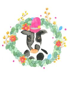 Cow Farm Animal in Wreath Illustration Giclee Print