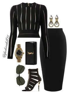 A fashion look from February 2016 featuring Balmain tops, Whistles skirts and Balmain sandals. Browse and shop related looks. Mode Outfits, Fashion Outfits, Womens Fashion, Fashion Trends, Classy Outfits, Stylish Outfits, Look Fashion, Autumn Fashion, Complete Outfits