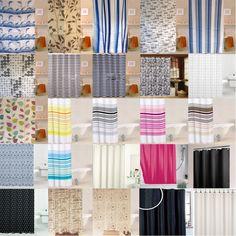 Modern Quality Bathroom Shower Curtains Stripes Plain Pattern Large 180 x 180cm