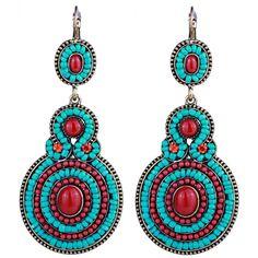 Fashion Women Long Noble Style Eardrop Tassels Bohemia Style Calaite Earrings