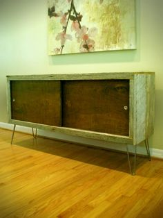 mod/rustic reclaimed wood credenza with hairpin legs. Retro Furniture, Furniture Styles, Wood Furniture, Repurposed Furniture, Old Wood, Cheap Home Decor, Barn Wood, Interior And Exterior, Wood Projects