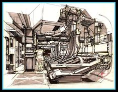 Syd Mead concept art for the Sulaco from Aliens, pt interiors sourced from the Alien Anthology blu-ray set James Cameron, Aliens 1986, Science Fiction, Syd Mead, Matte Painting, Environment Concept Art, Fantasy, Art Challenge, Blade Runner