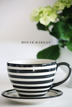 stylish design ideas unique coffee cups. Polish pottery HOUSE of IDEAS Cappuccino cup Stylish  black and white striped dishes coffee cups Stripe