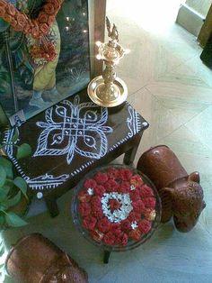 Kolam for a puja by Manjula Subbarayan, Chennai Kolam Rangoli, Chennai, Mandala, Decorative Boxes, Collection, Home Decor, Interiors, Decoration Home, Room Decor