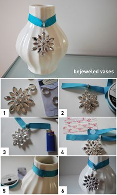 DIY bejeweled vases using Styled by Tori Spelling