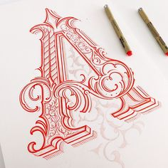 ORNAMENTAL LETTER A IN PROCESS. BY MATEUSZ WITCZAK INSTAGRAM.
