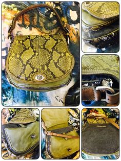 Caterina Lucci Chartreuse Python crossbody bag.  $463.  Our Place Boutique.