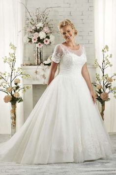 Shopping For A-line Scoop Short Sleeve Tulle Court Train Wedding Dresses For Plus Size with Affordable Price P2015012807