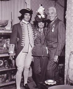 1969, Cesar Romero and friends at Liberace's Christmas party in Palm Springs