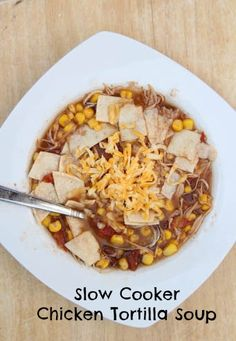Slow Cooker Chicken Tortilla Soup ~ part of our 20 GF Slow Cooker Freezer Pack Meal Plan for Costco | 5DollarDinners.com