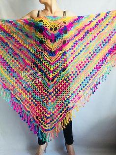 Crochet Scarf Diagram, Crochet Jumper, Crochet Square Patterns, Shawl Patterns, Knit Crochet, Crochet Shawls And Wraps, Crochet Scarves, Crochet Clothes, Beau Crochet