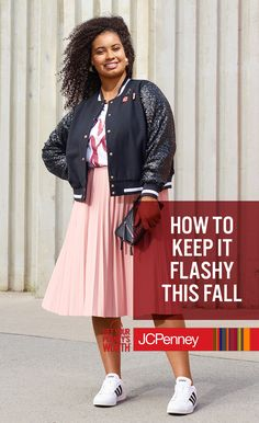 It's hard to look anything but BOMB in this sequin-sleeve bomber jacket. Add a flowy pink, pleated skirt, and you've got a look that's equal parts classy and sassy. It's all from Ashley Nell Tipton's exclusive fashion line, and it's the fall look that can take you from work to play.
