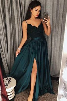 Sexy Dark Green V-Neck Lace Bodice Prom/Evening Dres Slit Side Prom Dress, Lace Evening Dress, Sexy Prom Dress, V-neck Prom Dress, Green Prom Dress Prom Dresses 2019 Straps Prom Dresses, V Neck Prom Dresses, A Line Prom Dresses, Cheap Prom Dresses, Sexy Dresses, Party Dresses, Long Dresses, A Line Dress Formal, Dress Straps