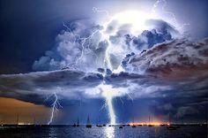 Australian weather calendar: lightning illuminates a cumulonimbus cloud over Corio Bay, Victoria