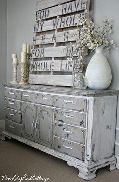 Chalk painted dining furniture by The Lilypad Cottage