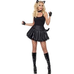 Party poes kostuum voor dames. Zwart sexy poezen jurkje met tutu, nekband en oren. Het jurkje is one size, ongeveer maat S/M.