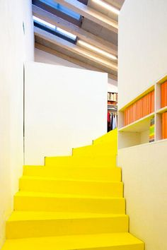 archello - Projektil studio --yellow stairs -- photo by Andrea Thiel Lhotáková Interior Stairs, Interior Architecture, Color Inspiration, Interior Inspiration, Yellow Stairs, Deco Cool, Interior Decorating, Interior Design, Commercial Architecture