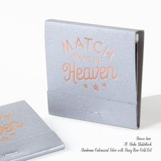 Match Made in Heaven Matchbooks, Min of 50 - Wedding Favors, Wedding Matches, Personalized Matches, Custom Matchbooks, Wedding Decor  ----------------------------------------------------------------   Looking for matching product?  MATCHBOOKS: https://www.etsy.com/listing/261455932/strike-my-fancy-matchbooks-min-of-50  NAPKINS: https://www.etsy.com/listing/265756767/sip-sip-hooray-linen-like-napkins-set-of https://www.etsy.com/listing/265868258/mr-mrs-with-diamond-set-of-50-custom  COASTERS…